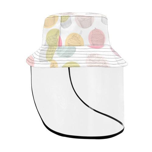 Colorful Cupcakes Women's Bucket Hat (Detachable Face Shield)