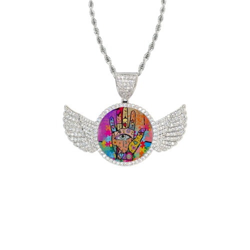 Hands up by Nico Bielow Wings Silver Photo Pendant with Rope Chain