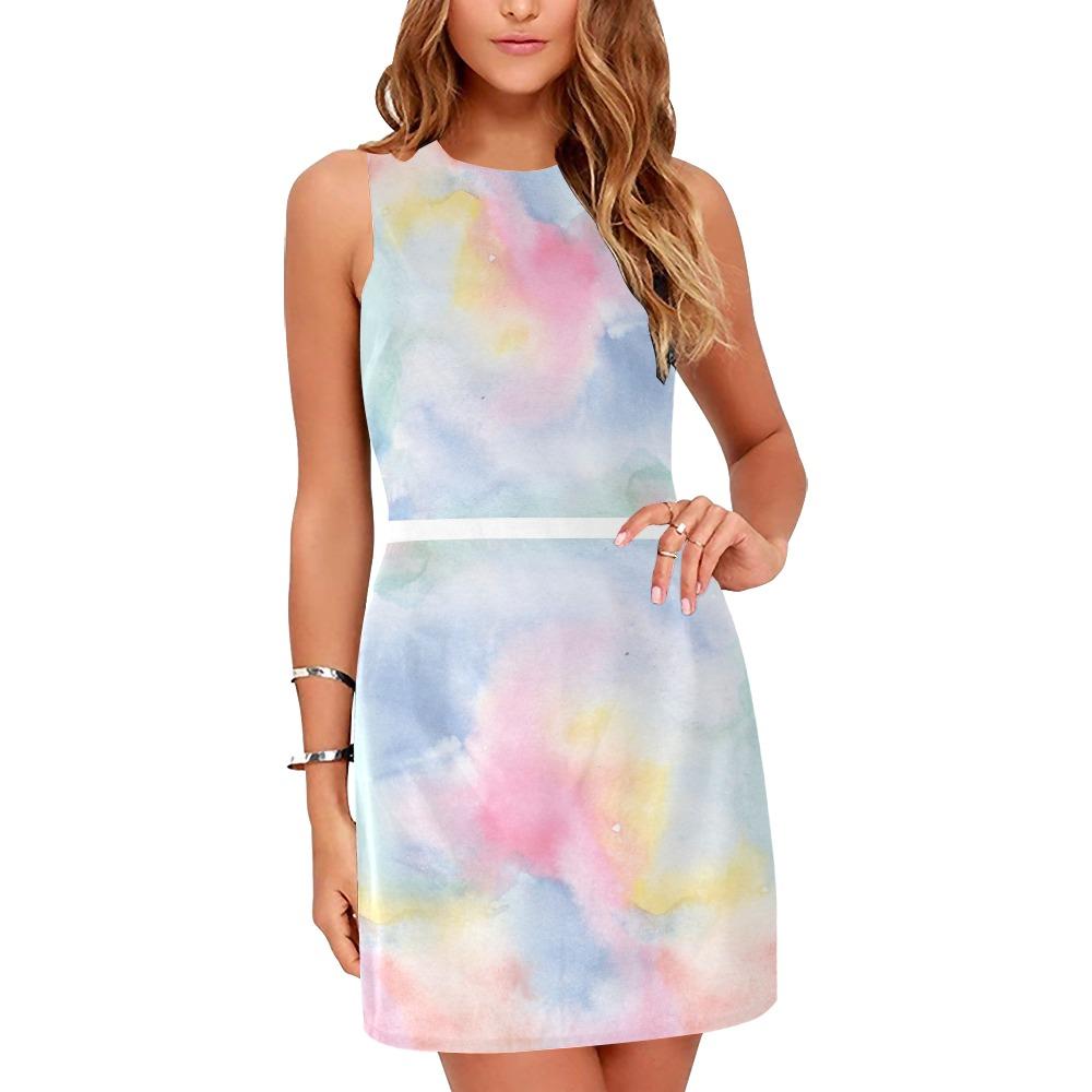 Colorful watercolor Eos Women's Sleeveless Dress (Model D01)