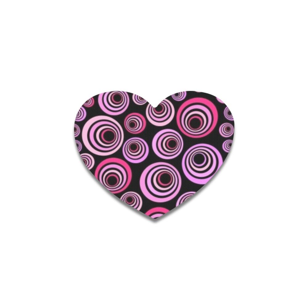 Retro Psychedelic Pretty Pink Pattern Heart Coaster