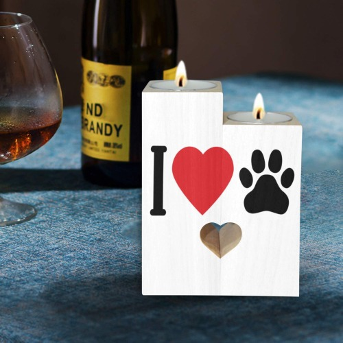 I Love My Pet _ Paw Wooden Candle Holder (Without Candle)