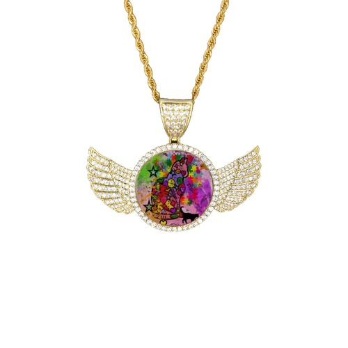 Cat by Nico Bielow Wings Gold Photo Pendant with Rope Chain