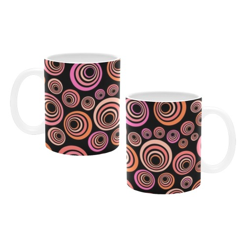 Retro Psychedelic Pretty Orange Pattern White Mug(11OZ)