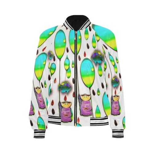 raining cartoons and fishes All Over Print Bomber Jacket for Women (Model H21)