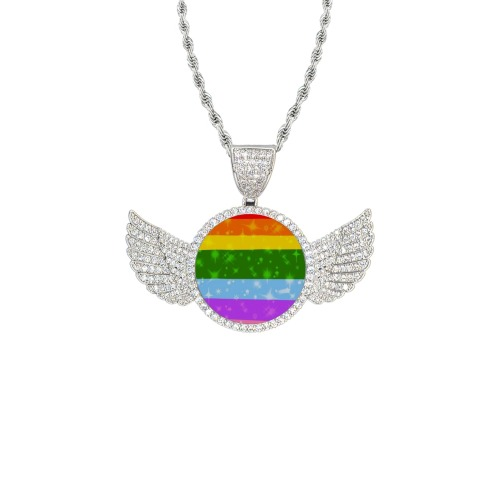 Pride by Nico Bielow Wings Silver Photo Pendant with Rope Chain