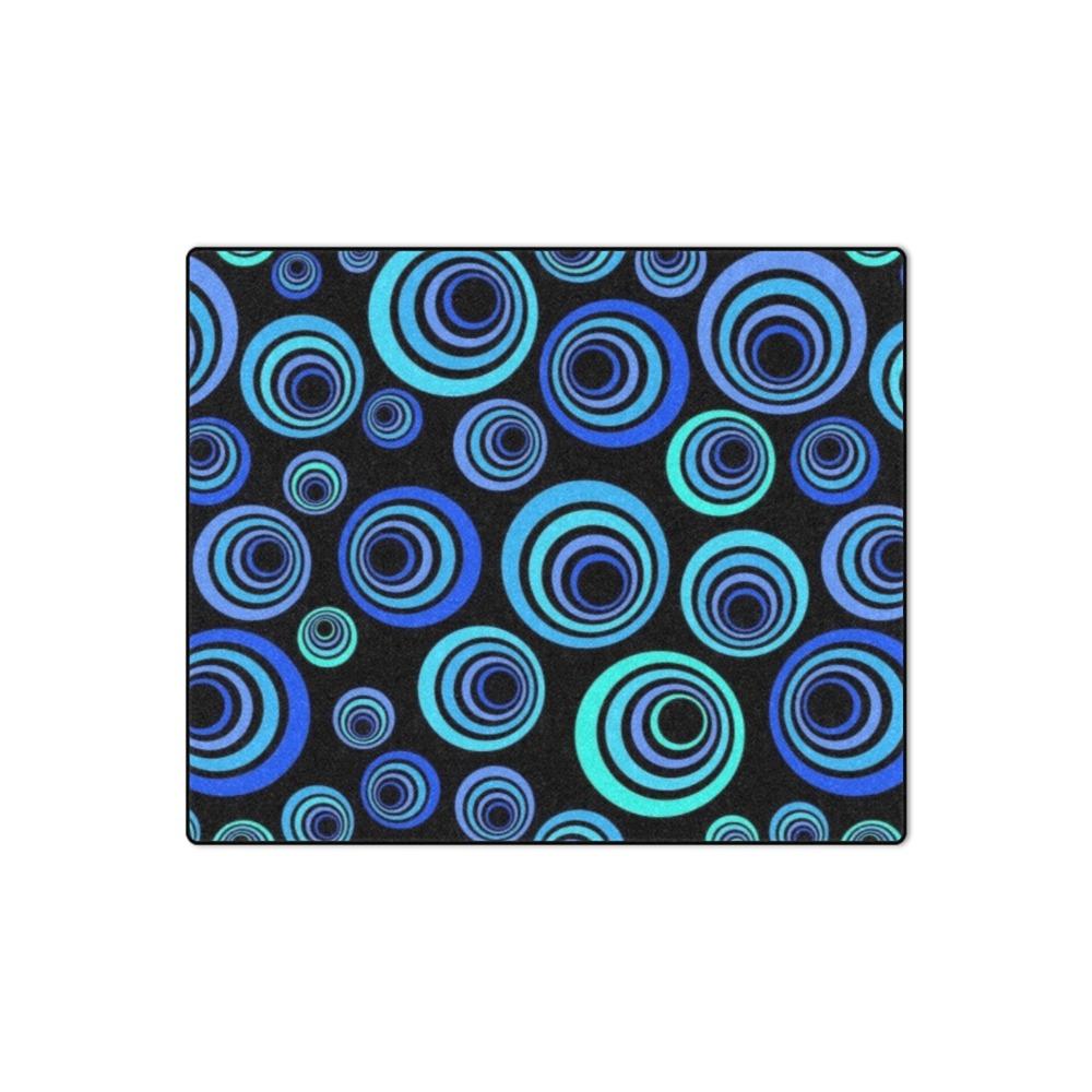 "Retro Psychedelic Pretty Blue Pattern Blanket 50""x60"""