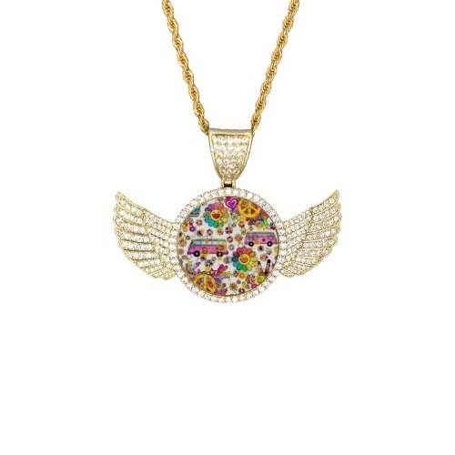 Flower Power by Nico Bielow Wings Gold Photo Pendant with Rope Chain