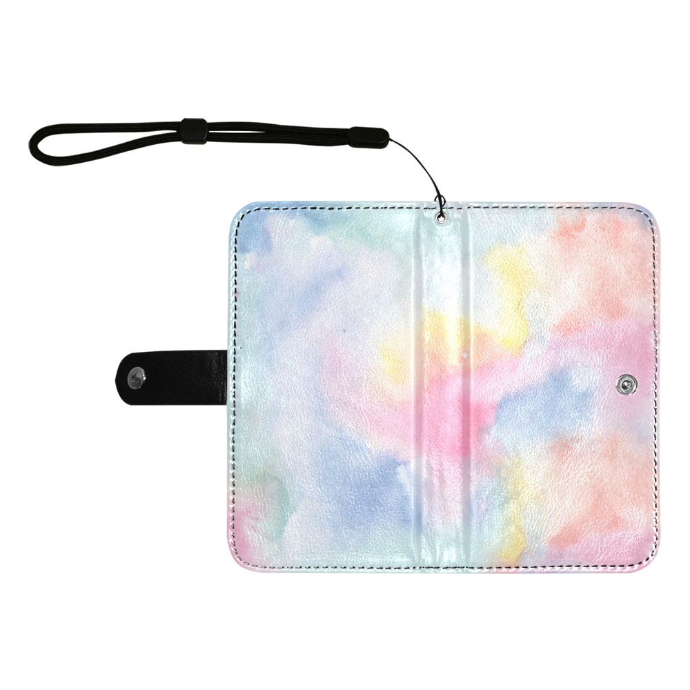 Colorful watercolor Flip Leather Purse for Mobile Phone/Large (Model 1703)