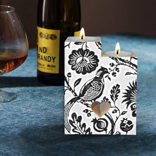 Bird 4 Wooden Candle Holder (Without Candle)