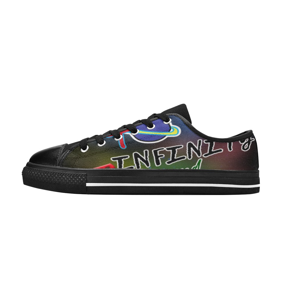 Infinity and Beyond Shoes Black Men's Classic Canvas Shoes (Model 018)