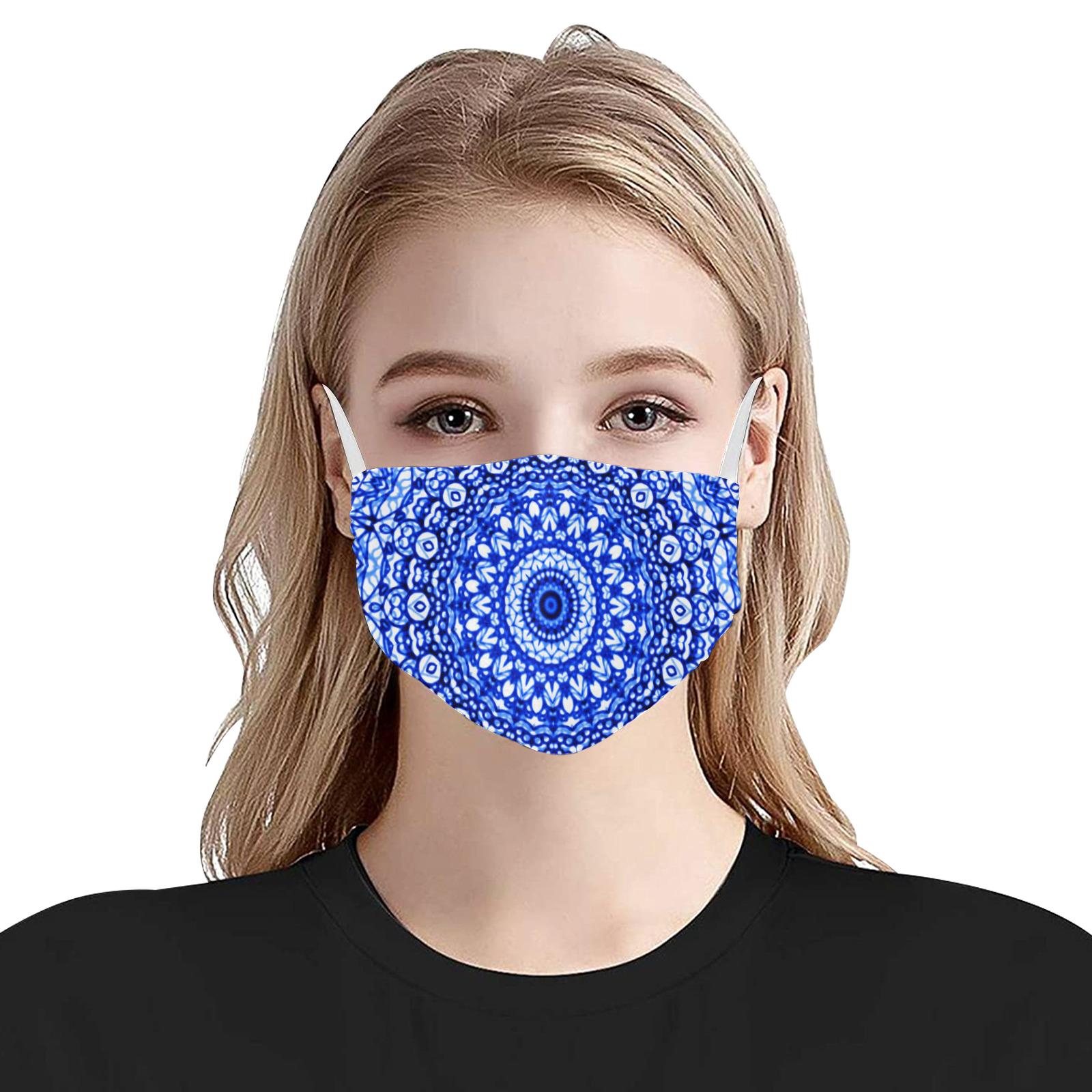 Blue Mandala Mehndi Style G403 Flat Mouth Mask with Drawstring