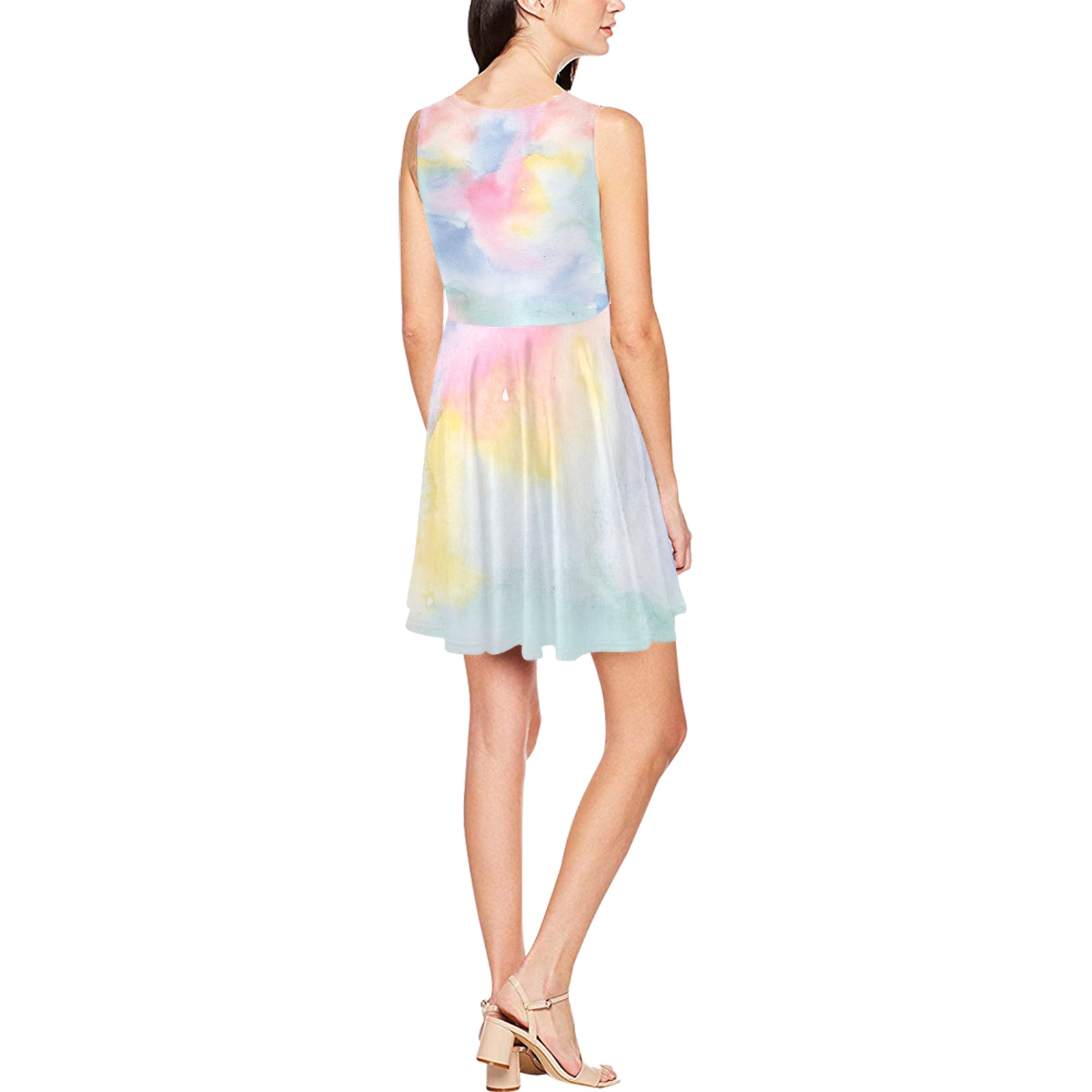 Colorful watercolor Thea Sleeveless Skater Dress(Model D19)