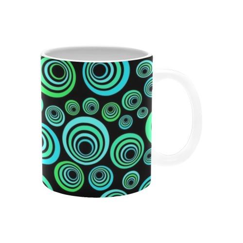 Retro Psychedelic Pretty Green Pattern White Mug(11OZ)