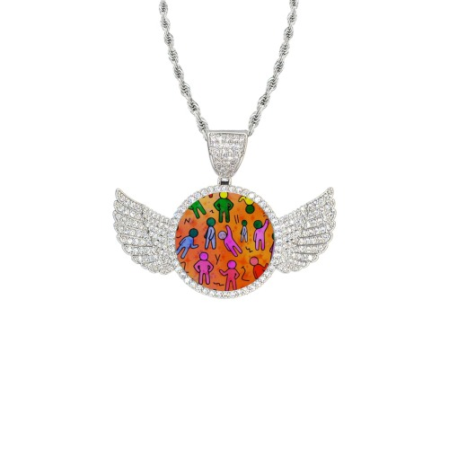 Many People by Nico Bielow Wings Silver Photo Pendant with Rope Chain
