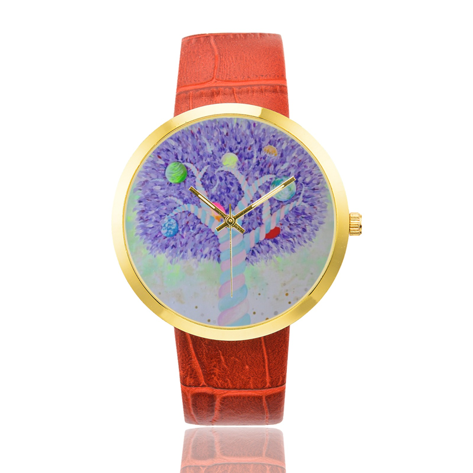 Planet Tree Women's Golden Leather Strap Watch(Model 212)