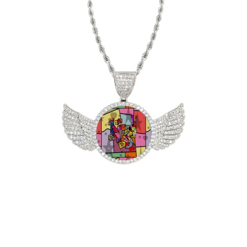 nb100 Wings Silver Photo Pendant with Rope Chain
