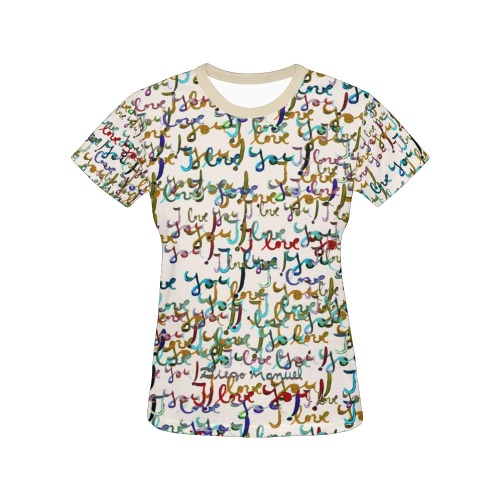 I love you All Over Print T-Shirt for Women (USA Size) (Model T40)
