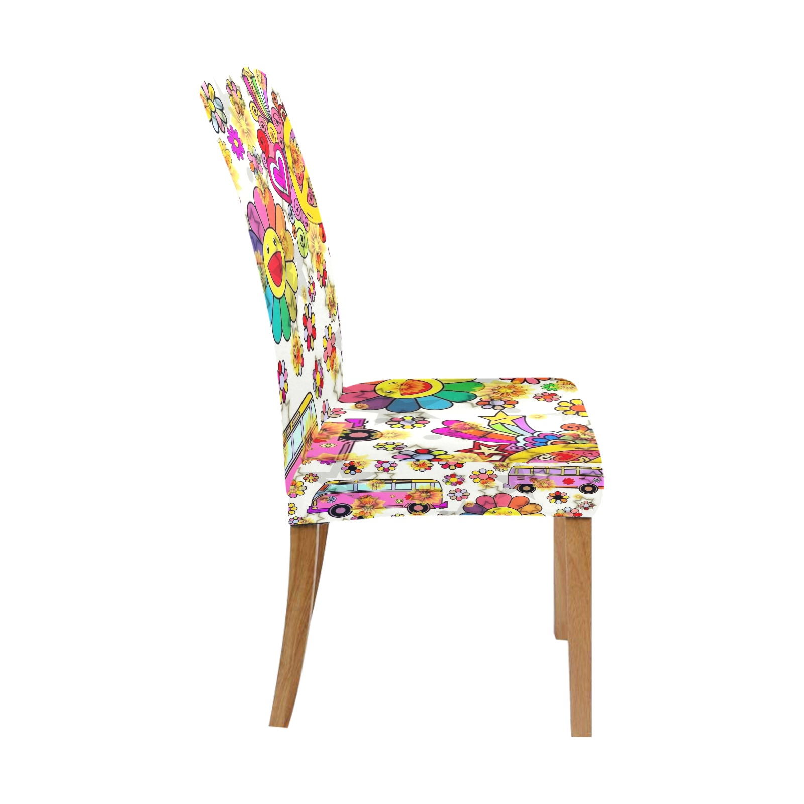Flower Power 70er by Nico Bielow Removable Dining Chair Cover