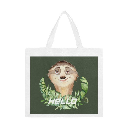 Smiley Sloth with Palm leaf featuring Hello on dark olive green background Canvas Tote Bag/Large (Model 1702)
