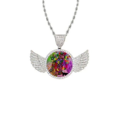 Cat by Nico Bielow Wings Silver Photo Pendant with Rope Chain
