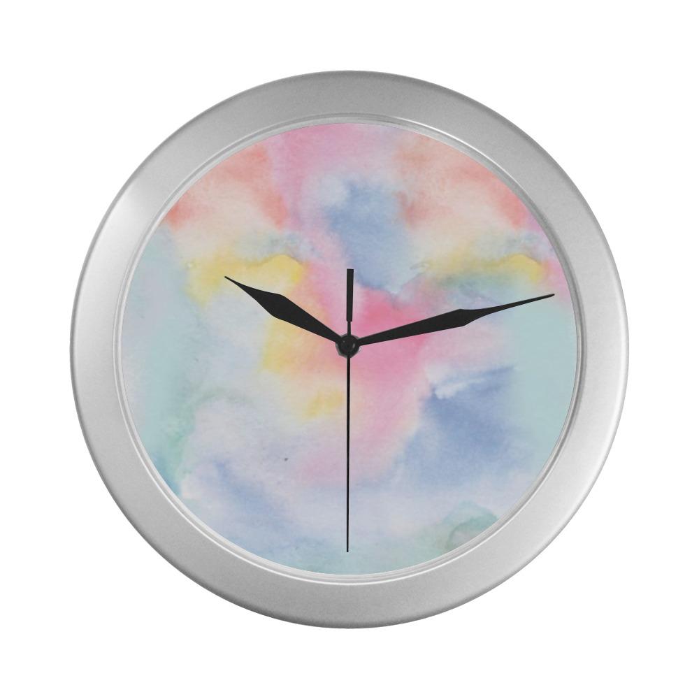 Colorful watercolor Silver Color Wall Clock