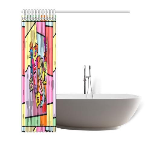 "NB Pop Art by Nico Bielow Shower Curtain 72""x72"""