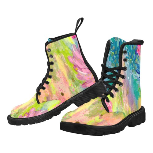 Abstract Painting Martin Boots for Women (Black) (Model 1203H)