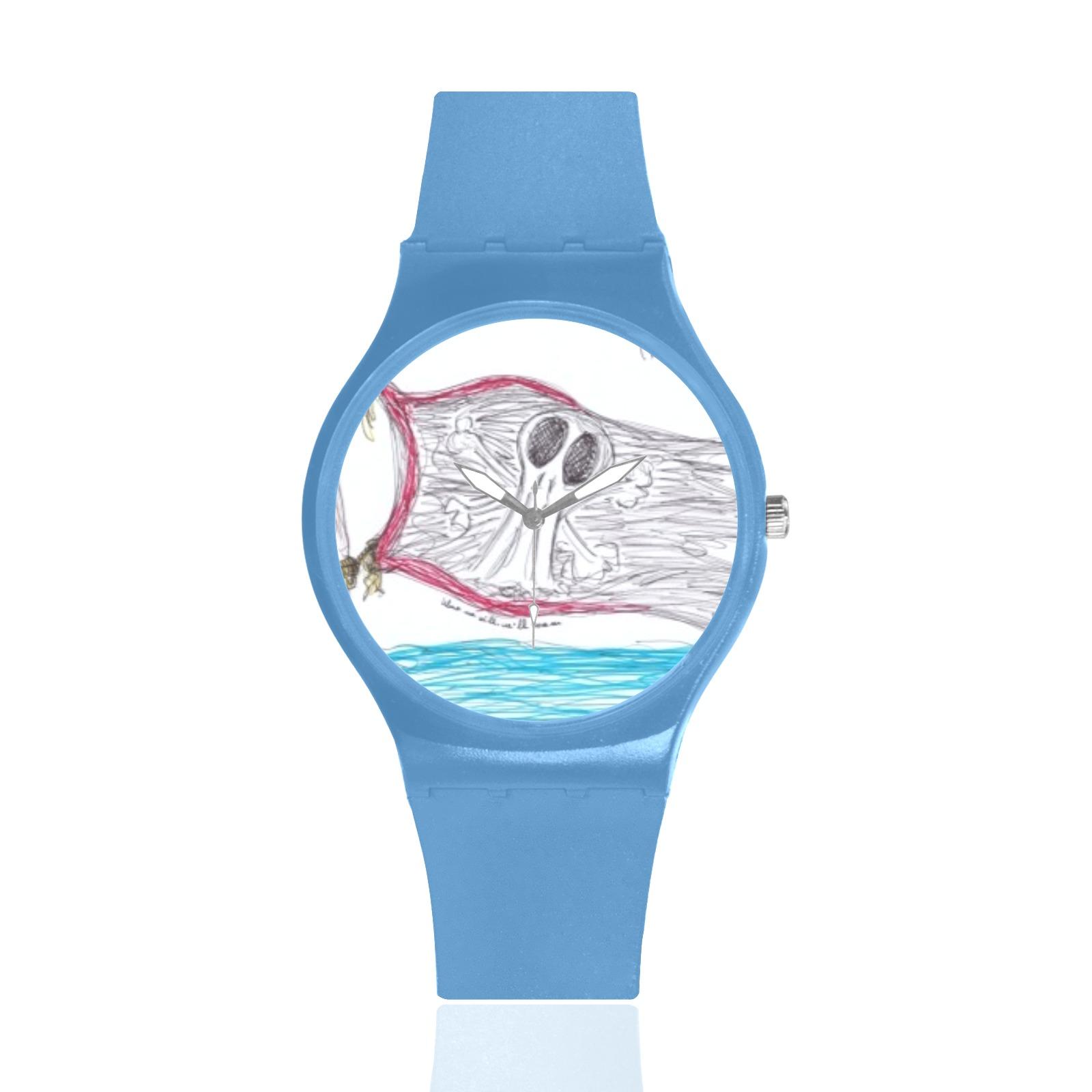 pirates clock Unisex Round Rubber Sport Watch(Model 314)