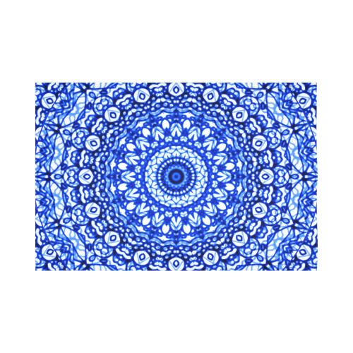 """Blue Mandala Mehndi Style G403 Cotton Linen Wall Tapestry 90""""x 60"""""""