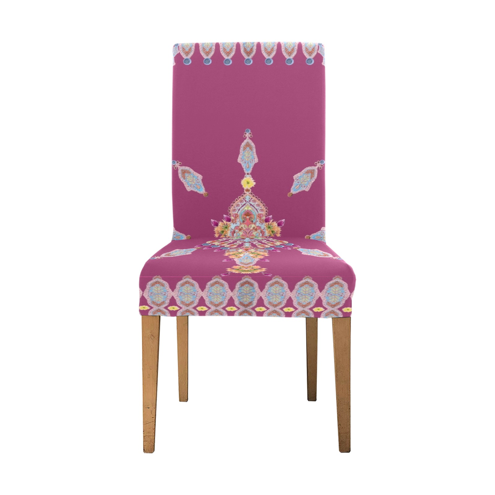 bleuet rouge Removable Dining Chair Cover