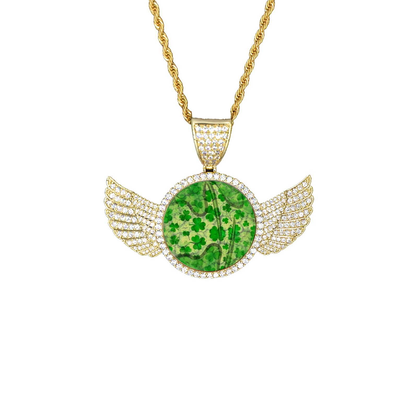 St. Patrick's by Artdream Wings Gold Photo Pendant with Rope Chain