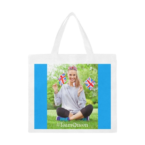 TeamQueen pro-Commonwealth blue background Canvas Tote Bag/Large (Model 1702)