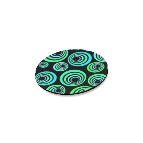 Retro Psychedelic Pretty Green Pattern Round Coaster