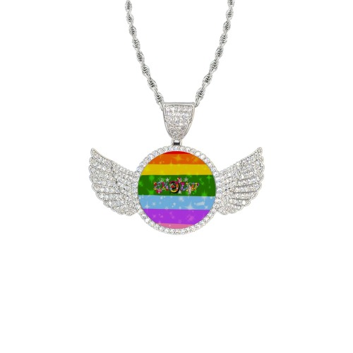 Pride Proud by Nico Bielow Wings Silver Photo Pendant with Rope Chain