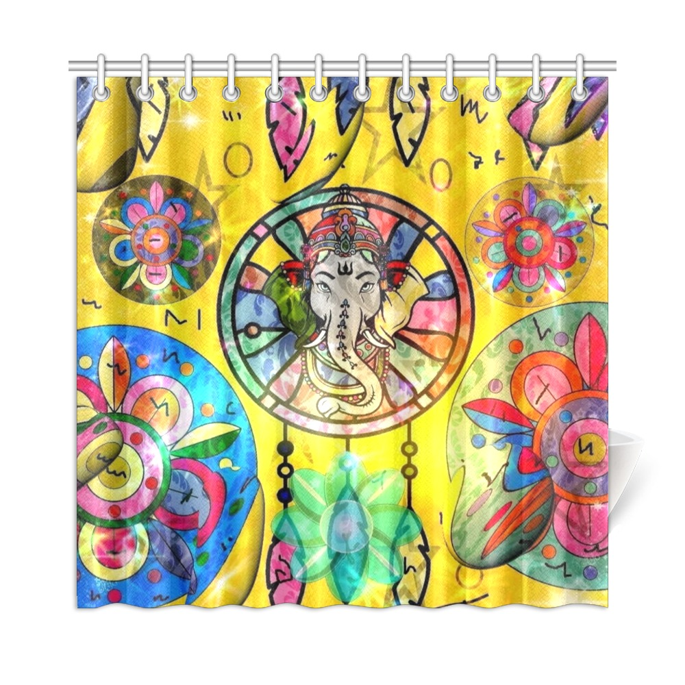 "Indian Dreamcatcher by Nico Bielow Shower Curtain 72""x72"""