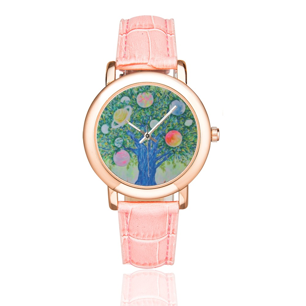 Planet Tree Women's Rose Gold Leather Strap Watch(Model 201)