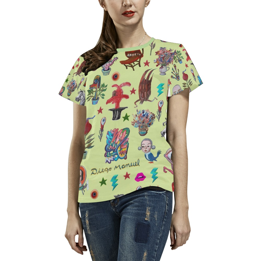 Pop surrealism All Over Print T-Shirt for Women (USA Size) (Model T40)