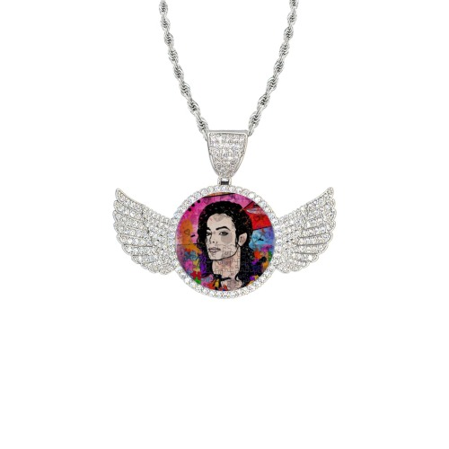 King of by Nico Bielow Wings Silver Photo Pendant with Rope Chain