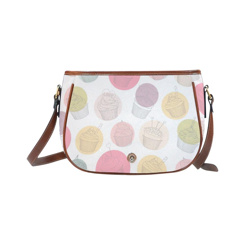 Colorful Cupcakes Saddle Bag/Small (Model 1649) Full Customization