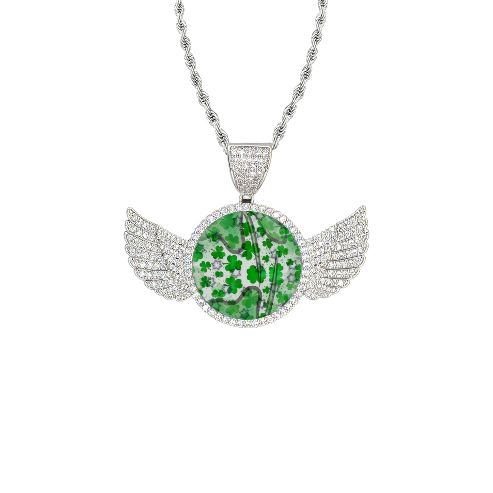 St. Patrick's by Artdream Wings Silver Photo Pendant with Rope Chain